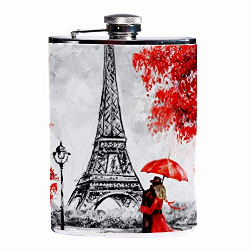 Petaca para licor y embudo de pintura al óleo de París – 8 onzas a prueba de fugas de acero inoxidable petaca de bolsillo para bebidas discretas de alcohol, whisky, ron y vodka