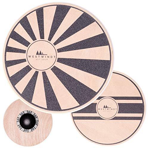 WESTWINDT® Holz Balance-Board in Zwei Varianten für Fitness, Muskelaufbau und Entspannung - Therapiekreisel mit 40 cm Durchmesser, Variante Sonne