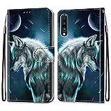 i-Case Etui en PU Cuir Coque pour Samsung Galaxy A70 Flip Folio Housse Magnétique Loup Modèle...