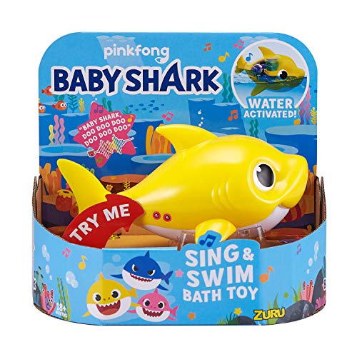 ZURU ROBO ALIVE JUNIOR- Battery-Powered Baby Shark - Juguete para baño para Nadar y Cantar a...
