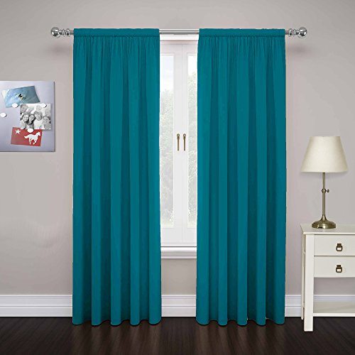 """PAIRS TO GO Cadenza 84"""" x 80"""" Rod Pocket Double Panel Privacy Window Treatment Living Room, Teal"""