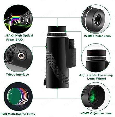 40 x 60 HD Monocular Impermeable monoculo telescopio portatil para Viajes de Caza Senderismo Turismo Juego de Pelota Negro, 1PC con Adaptador de Soporte para Smartphone y tr/ípode