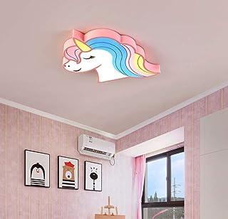 LED Lámpara de Techo Regulable,Plafon con Mando a Distancia,Lámpara de acrílico de forma unicornio 28W, iluminación de la habitación de las niñas/niño,L52CM * W39CM * H5CM, rosa, atenuación tricolor