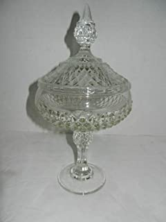 Indiana Glass Vintage Candy Dish and Lid, Diamond Point Candy Dish