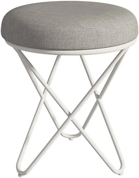 LIU RUOXI Gray Vanity Stool Retro Line Design Makeup Bench Dressing Stool Pad Cushioned Chair Piano Seat White