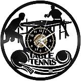 jjyyy Deportes de Pelota Reloj de Pared de Vinilo Negro Arte Retro Reloj de Pared 3D Diseño Moderno Oficina Bar Habitación Decoración para el hogar Regalo