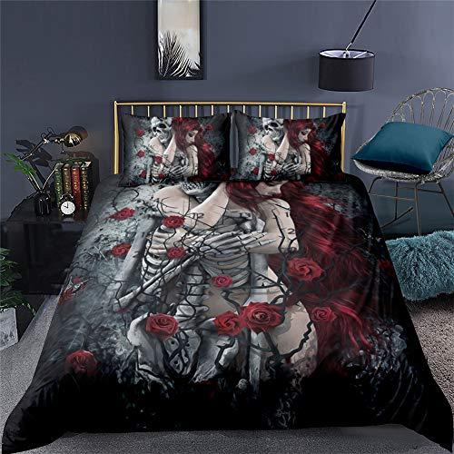 AYMAING Bettwäsche 3D Totenkopf & Rosen Bettbezug Set 135x200 cm Bettwäsche Set 3 Teilig Bettbezüge Mikrofaser Bettbezug mit Reißverschluss und 2 Kissenbezug 80x80cm