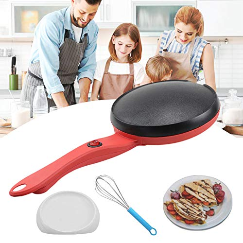 "Portable Electric Crepe Maker 110V 8"" Household Pancake Machine with Auto Temperature Control Non-stick Crepe Pan for Pancake, Blintz, Chapati,Including Egg Beater & Batter Pot Red&Black 1Pack"