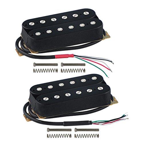 FLEOR ensemble de manche/chevalet (50mm / 52mm) Double bobine Humbuckers micro aimant en céramique pour pièces de micro guitare électrique, noir