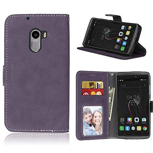 Handy Kasten für Lenovo Vibe K4 Note A7010/Vibe X3 Lite,Bookstyle 3 Card Slot PU Leder Hülle Interner Schutz Schutzhülle Handy Taschen(Violett)