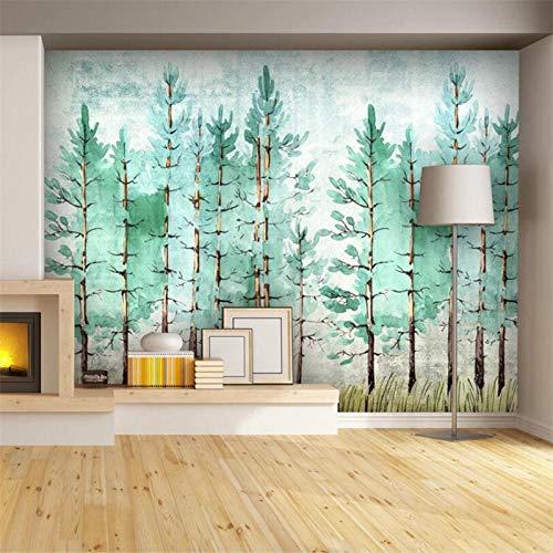 Nomte klantspecifiek groot Scandinavisch aquarel, het eenvoudige elektrische groene landzicht achtergrond behangpapier De Pare Malt 300x210cm