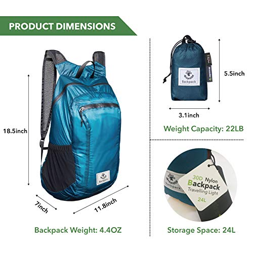 4Monster Hiking Daypack,Water Resistant Lightweight Packable Backpack for Travel Camping Outdoor (Blue, 16L)