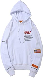 Fashion NASA Letter Print Plus Velvet Cotton Loose Pullover Hoodie Sweater for Men/Women