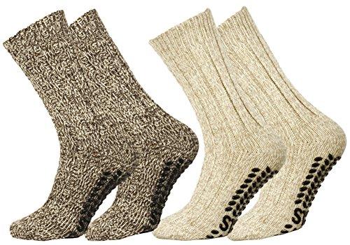 VCA 2 Paar Norweger Strick-Socken mit Antirutsch Sohle, Woll Socken