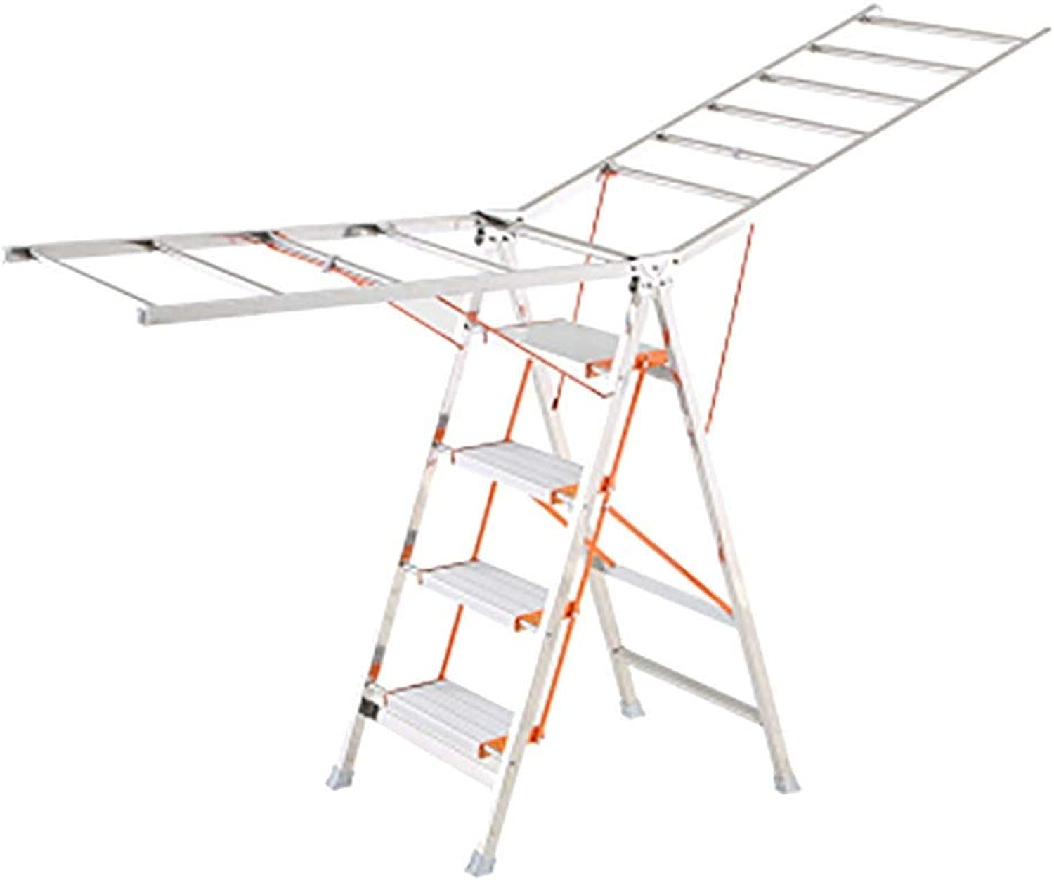 Mempers Thick Stainless Steel Folding Step Ladder   Household Ladder   Two-purpose Drying Rack   Four-step Frame, Five-step Frame   Loadable 150kg (Design   A Section, Size   4 layers)