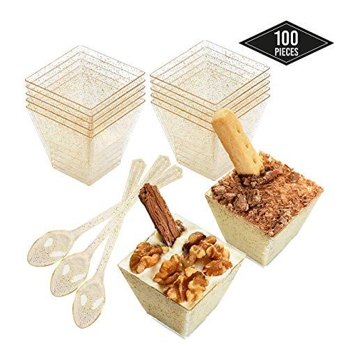 100 Einweg Plastik Dessertbecher mit Goldglitzern & 100 Löffeln, 60ml| Stabile & Mehrweg - Dessertschalen Dessertgläser aus Kunststoff für Mousse Fingerfood Nachtisch Partys Geburtstage Hochzeiten.