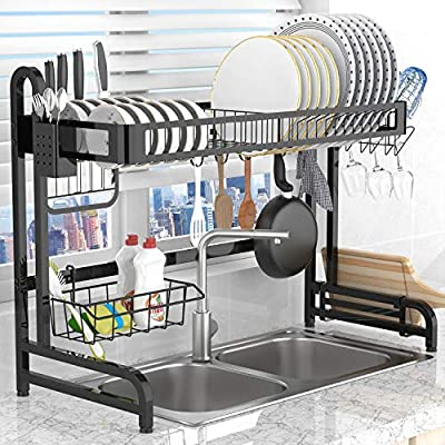 Dish Drying Rack Over the Sink,LeaderPro Premium 304 Stainless Steel Dish Drainer Shelf,Kitchen Supplies Storage Countertop Space Saver Display Stand Tableware Organizer Utensils Holder, Black by