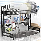 Dish Drying Rack Over the Sink,LeaderPro Premium 304 Stainless Steel Dish Drainer Shelf,Kitchen Supplies Storage Countertop Space Saver Display Stand Tableware Organizer Utensils Holder, Black