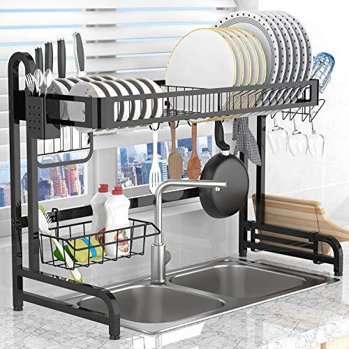 Dish Drying Rack Over the Sink,LeaderPro Premium 304 Stainless Steel Dish Drainer Shelf,Kitchen Supplies Storage Countertop Space Saver Display Stand Tableware Organizer Utensils Holder, Black