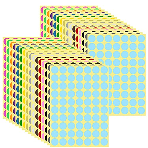 AvoDovA 19mm Etichette Autoadesive Rotonde, 16 Colori Assortiti, Bollini Adesivi Colorati Cerchio, Etichette Colorate Scrivibili, Etichetta codifica colore, 32 Fogli, 2240 Punti