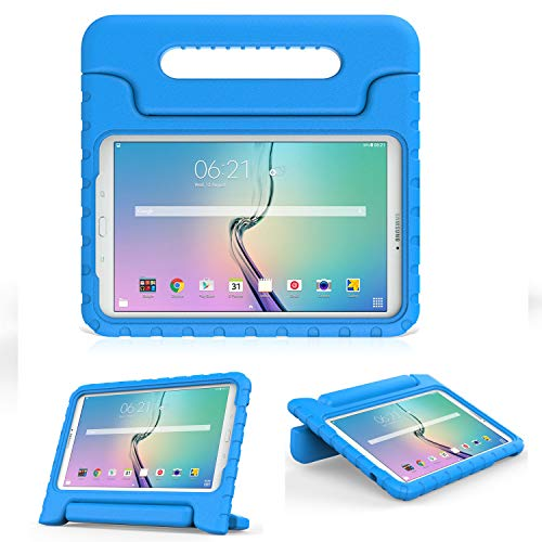 MoKo Tab E 9.6 Case - EVA Kids Shock Proof Convertible Handle Light Weight Protective Cover for Samsung Galaxy Tab E Wi-Fi/Tab E Nook 9.6-Inch Tablet Verizon 4G LTE Version, Blue