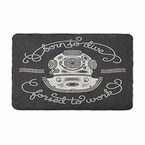 AoLismini Alfombrilla de baño con Estampado de Camiseta con Casco de Buceo Vintage y diseño de refrán Escrito a Mano Octopus Cozy Bathroom Decor Alfombra de baño con Respaldo Antideslizante