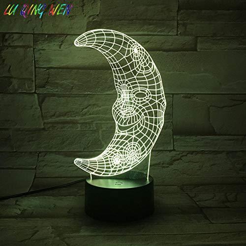 3D Illusionslampe LED Nachtlicht Mond Urlaub Geschenke 7 Farbwechsel Schlafzimmer Dekoration De Maison Mario Acryl Mond Bett