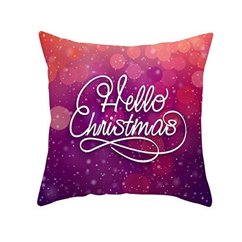 Beydodo Fundas Grandes Cojin Navidad,1 Pieza de Fundas de Cojines Funda Cojin 45 X 45 Dormitorio,Hello Christmas Púrpura Rojo