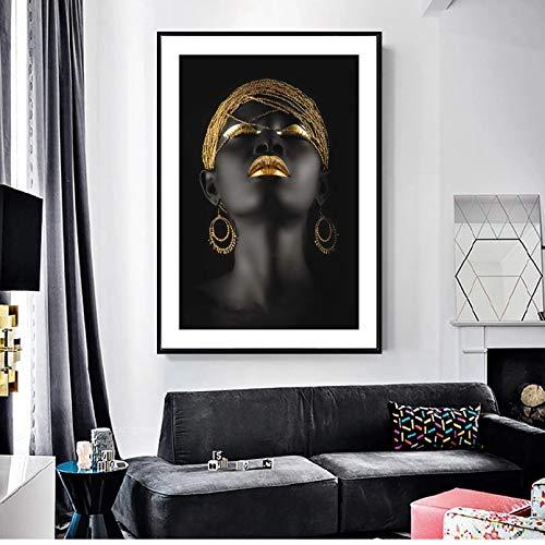 QAZEDC Pinturas decorativas Pendientes de Oro Chica Negra Lienzo Cuadros En La Pared Arte Impresiones Mujeres Africanas Arte Lienzo Impresiones Cuadro De Pared Para Sala