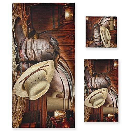 VINISATH Home Juego de Toallas Baño,Estadounidense West Rodeo Cowboy Tradicional Blanco Sombrero...