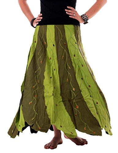 Vishes – Alternative Bekleidung – Weiter, schwingender Wickelrock aus handgewebter Baumwolle – mit Blumen Bestickt hellgrün Einheitsgröße bis 40