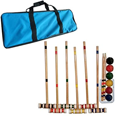 Trademark Games Croquet Set- Wooden Outdoor Deluxe Sports Set with Carrying Case- Fun Vintage Backyard Lawn Recreation Game, Kids or Adults by Hey! Play! (6 Players)