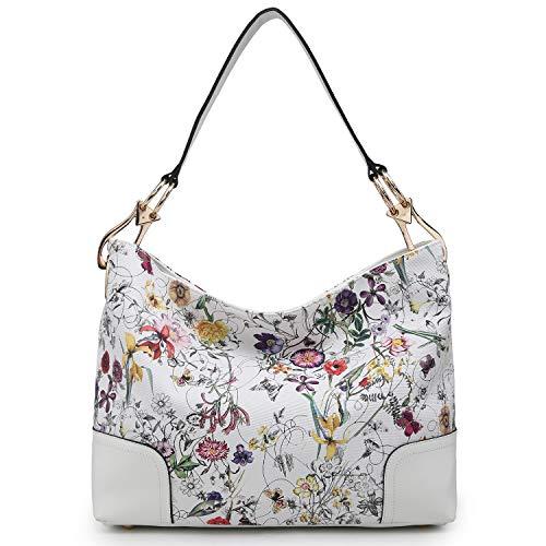 Dasein Women Hobo Bags Shoulder Handbags Hobo Purses Big Hook Hardware and Wide Strap (white flower)