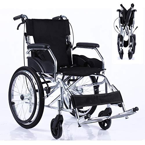 Opvouwbare rolstoel met veiligheidsgordel voor en achterwiel massieve band- 4 achterste handremmen - aluminiumlegering