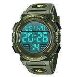 腕時計 メンズ デジタル スポーツ 50メートル防水 おしゃれ 多機能 LED表示 アウトドア 腕時計(グリーン)