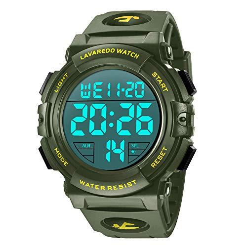 Preisvergleich Produktbild Digital Herren Uhren - Sport Outdoor Armbanduhr 5 ATM wasserdichte Schwarz Uhren mit Wecker / Kalender / Stoppuhr / Stoßfest