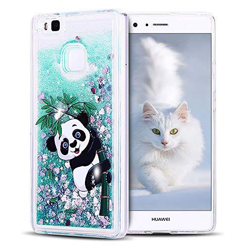 SpiritSun Funda Huawei P9 Lite, Carcasa Huawei P9 Lite, Transparente Líquido Bumper Tapa Silicona Case Flexible Gel TPU Bling Suave Protectora Caso [Shock-Absorción] para Huawei P9 Lite Verde - Panda