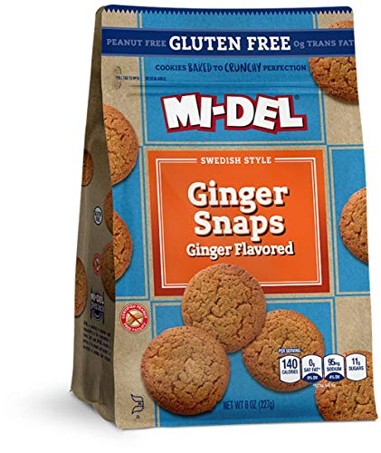 Mi-Del Gluten Free Ginger Snaps Cookies, 8 Oz. Bags, Pack Of 8 (79206), Ginger-Flavored for California Only, 64 Oz
