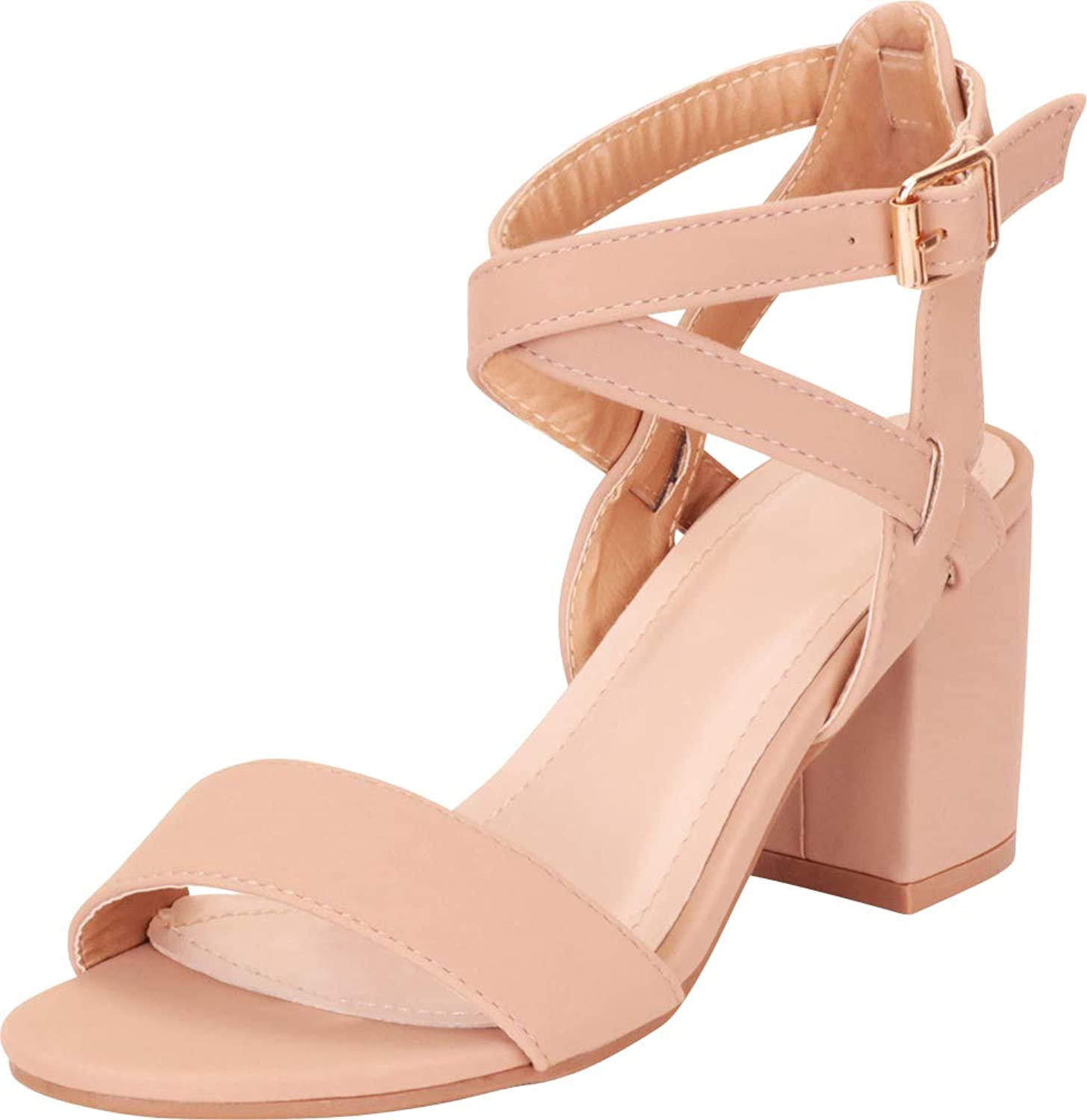 0d3330fd02f3d Cambridge Select Women's Open Toe Ankle Strappy Chunky Block Mid ...