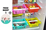 BigBuzz 4 Pcs Expandable Adjustable Fridge Storage Basket + BigBuzz FRIDGE MAGNET FREE