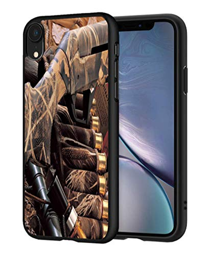 iPhone XR Case, LOWORO Premium TPU Slim Shockproof Rubber Protective Case Cover for iPhone XR (2019) 6.1 inch, Duck Hunting Camouflage Shotgun Bullets Decoy