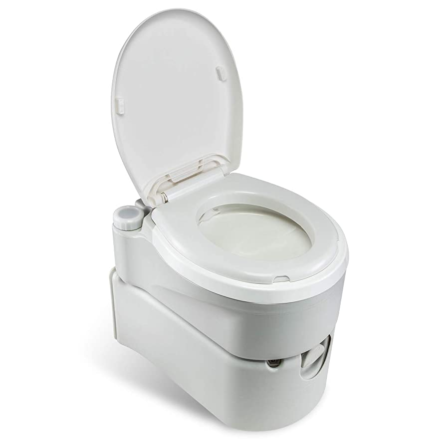 Hike Crew Portable Cassette Toilet | Full-Size Toilet w/ 17L Water Tank & 24L Removable Cartridge Waste Tank w/Wheels & Button for External Flush | for Camping or Installation in RV, Camper Van, Etc