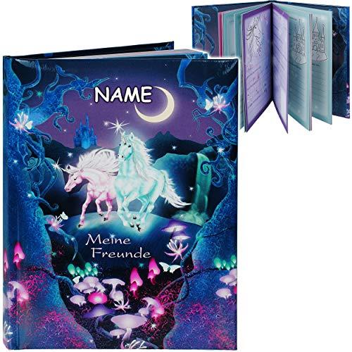 Freundebuch _ Meine Freunde _ Einhorn - Unicorn - inkl. Name - A5 - Buch gebunden für Schule / Vorschule / Kindergarten / Kita - Kind - Kinder Poesiealbum - P..