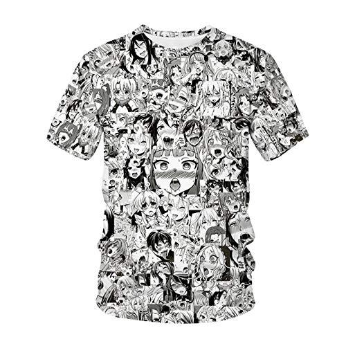 lilang T-Shirt Ahegao Anime 3D Imprimer Homme Femme Streetwear Anime Hiphop T Shirt Harajuku Harajuku Casual Tops Vêtements Fille Sexy AT463212S L