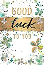 Male/Female Good Luck Card from Words 'n' Wishes - Artistic Four Leaved Clovers with a Gold Foil Finish - Greeting Card fo...