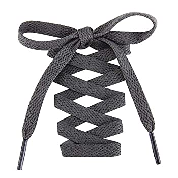 Handshop Flat Shoelaces 5/16  - Shoe Laces Replacements For Sneakers and Athletic Shoes Boots Deep Gray 122cm