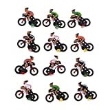 Gazechimp 12 Piezas Miniatura Jinete Ciclista Modelo de Juguetes Coleccionables 1/87 HO DIY Tren Modelo de Mesa de Arena