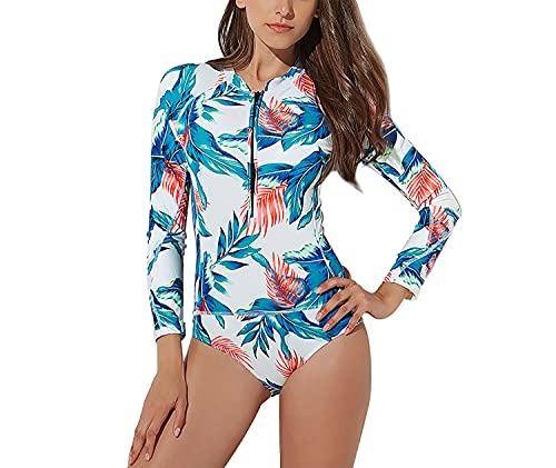 Traje de baño con cremallera de manga larga para mujer de moda Traje de baño de una pieza para surf Traje de baño con protección solar UV,Blanco,XXL