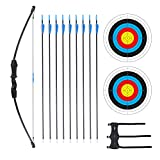 Procener 45' Bow and Arrow Set for Kids Archery Beginner Gift Recurve Bow Kit with 9 Arrows 2 Target Face 18 Lb for Teen Outdoor Sports Game Hunting Toy