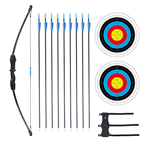 """Procener 45"""" Bow and Arrow Set for Teenagers Archery Beginner Gift Recurve Bow Kit with 9 Arrows 2 Target Face 18 Lb for Teen Outdoor Sports"""